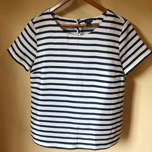 J Crew Classic Navy and White Striped Blouse